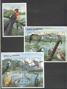QQ459 UGANDA FAUNA BIRDS OF UGANDA BL+2KB MNH STAMPS