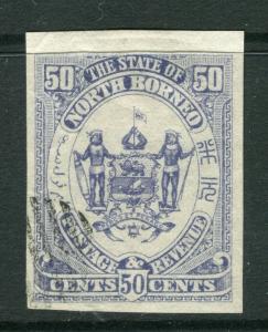 NORTH BORNEO; 1886 classic pictorial issue fine used IMPERF 50c. value