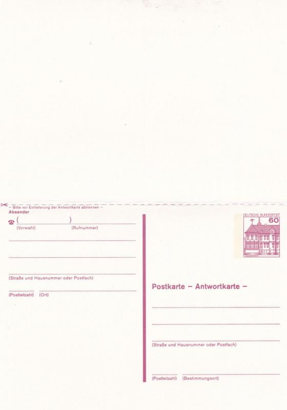 West Germany 60pfg Schloss Rheydt Prepaid Postcard with Reply Unused VGC