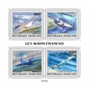 TOGO - 2021 - French Aircraft - Perf 4v Sheet - Mint Never Hinged