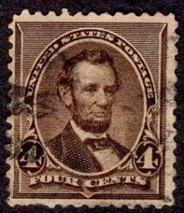 US Stamp #222 4c Lincoln USED SCV $4.75
