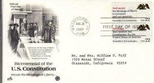1987, 200th Anniv. U.S. Constitution, Artcraft/PCS, FDC (E8742)