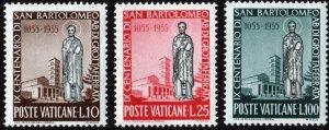 Vatican City SC#200-202 Basilica of Grottaferrata & St. Bartholomew (1955) MNH