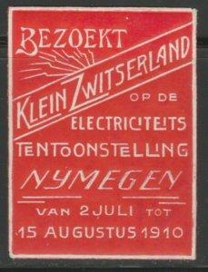 1910 Bezoekt Electricity Exhibition Cinderella Poster Stamp Reklam. A7P4F775