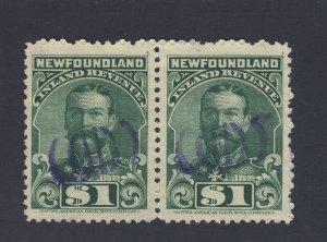 2x Newfoundland Revenue Stamps Pair of NFR20-$1.00
