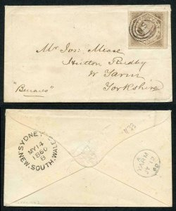 NSW SG96 6d greyish brown with large margins on cover