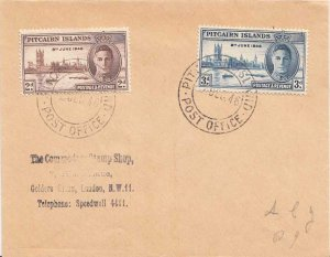 Pitcairn Island 2d and 3d Peace Issue 1946 Pitcairn Island, Post Office to Lo...