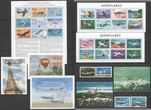 C1013 MALDIVES TRANSPORT HISTORY AVIATION AIRPLANES !!! 3KB+5BL+1SET MNH
