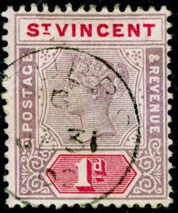 ST. VINCENT SG68, 1d dull mauve & carmine, FINE USED, CDS.