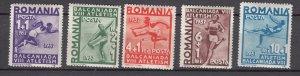 J27554 1937 romania set mh #b77-81 sports