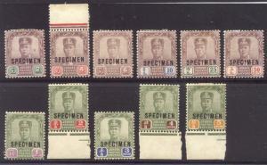 MALAYA / JOHORE #60/72S Mint - 1904 2c-$5.00 Ibrahim w/ SPECIMEN Ovpt