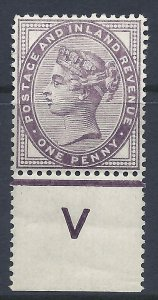 1d lilac control V perf single with jubilee line MOUNTED MINT