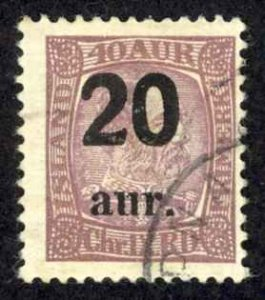 Iceland Sc# 134 Used 1921-1925 20a Overprints
