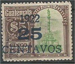 GUATEMALA, 1922, used  25c on 5p  Surcharged Scott 200