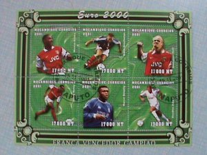 MOZAMBIQUE STAMP: 2001-EURO 2000 SOCCER: CTO NOT HING FULL SHEET NO.2