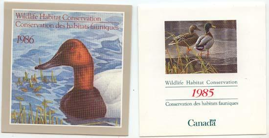 Canada - 1985 & 1986 Wildlife Conservation Booklets - FWH 1 & FWH 2 Mint