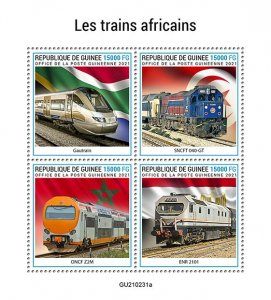GUINEA - 2021 - African Trains - Perf 4v Sheet - Mint Never Hinged