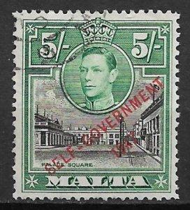 1948 Malta Sc221 5sh Overprinted Self Government 1947 used