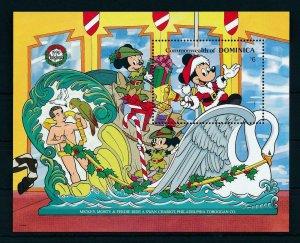 [22217] Dominica 1990 Disney Mickey Mouse riding carousel animal MNH