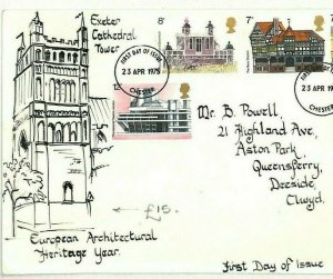 GB HAND-ILLUSTRATED FDC 1975 *Exeter Cathedral* TOWER Devon ARCHITECTURE AO137