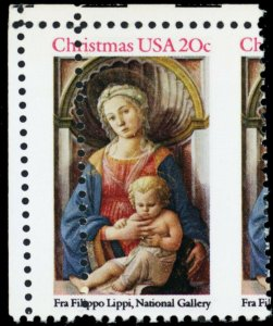 2107, Mint NH Misperfed Error 20¢ Christmas Stamp W/Gutter - Stuart Katz