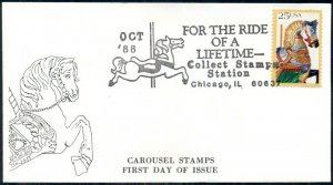 LOT OF 112,1988 FDC'S CAROUSEL STAMP, FOR THE RIDE OF A LIFETIME CACHET & CANCEL