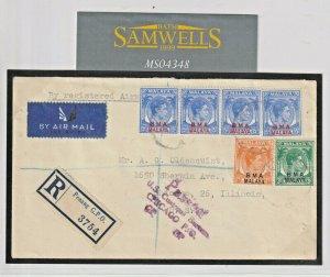 MALAYA Penang Cover *BMA* KGVI Overprints 1947 REGISTERED Air Mail USA MS4348