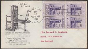 USA 1939 3c Printing in America  FDC to New Zealand -  backstamped.........55624