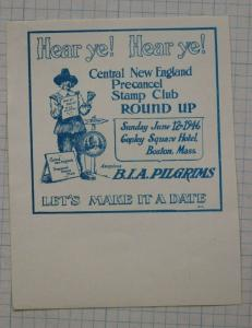 New England Precancel Club Round-up imperf Stamp ad BIA Pilgrims Boston 1946 DM