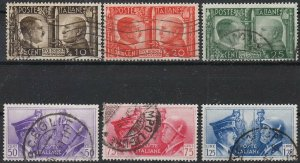 Stamp Italy SC 413-8 WWII War Socialist 3rd Reich Hitler Mussolini Used