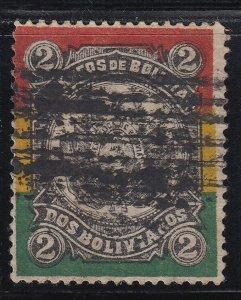 Bolivia 1897 2b Multicoloured. Used. Scott 54, SG 84
