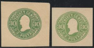 #U72-U72a (2) DIFF. UNUSED CUT SQUARES 30¢ GREEN & YELLOW GREEN CV $195 BT6883