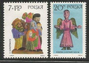 POLAND  1705, B119  HINGED,  2 OF 8 STAMPS,  FOLK ART TYPE