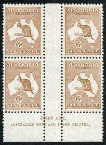 Australia SG107 6d Chestnut ASH Print Block of FOUR Top pair m/m bottom U/M