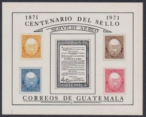 Guatemala Airmail # C458 Postage Stamp Centenary VF OG NH S/S - I Combine S/H