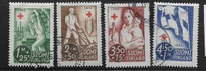 FINLAND, B44-B47, USED, 1941 SURTAX RED CROSS