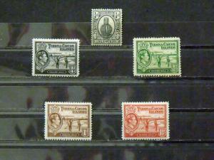 2843   Turks & Caicos   MH, VF # 44, 78, 79, 80, 81            C.V. $ 4.65