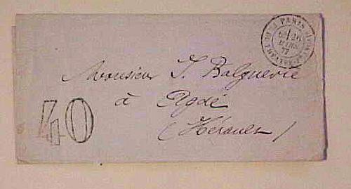 FRANCE  STAMPLESS  1877 LARGE 40 B/S LYON-MAR