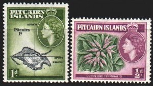 Pitcairn Islands. 1957. 20-21 from the series. Tourism, map, flora. MNH.