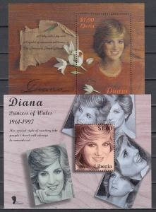 Liberia, 1998 issue. Lady Diana on 2 s/sheets.