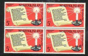 NORFOLK ISLAND 1967 CHRISTMAS Issue BLOCK OF 4 Sc 115 MNH