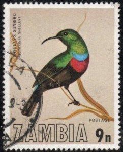 Zambia 172 - Used - 9n Shelley's Sunbird (1977) (cv $0.60)
