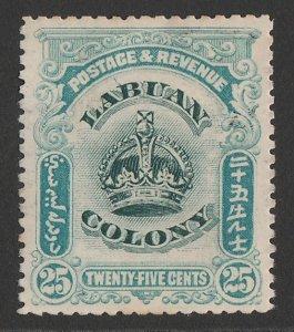 LABUAN : 1902 Crown 25c green & greenish-blue, variety 'line through B'.