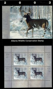ALBERTA  #8 2003 WHITETAIL DEER CONSERVATION STAMP MINI SHEET OF  4 IN FOLDER NH