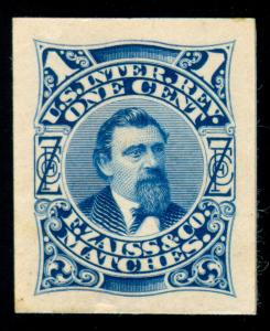 MOMEN: US STAMPS #RO184TC1e REVENUE PLATE PROOF ON CARD BLUE XF