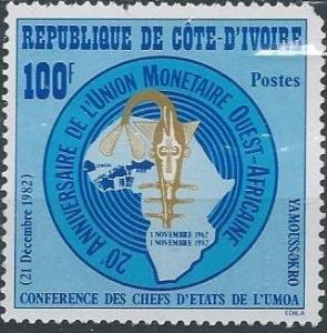 Ivory Coast 667 (mnh, pulled corner) 100fr W. Afr. Monetary Union (1982)