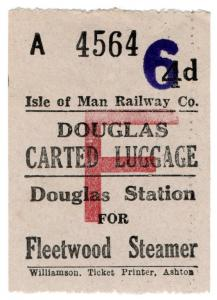 (I.B) Isle of Man Railway : Carted Luggage 6d on 4d OP (Fleetwood Steamer)