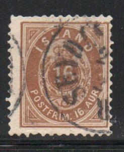Iceland  Sc 27 1896 16 aur brown stamp used