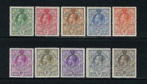 SWAZILAND SCOTT #10-19 1933 GEORGE V SET  - MINT EXTRA LIGHT HINGED