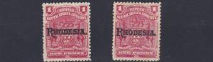 RHODESIA  1909  SG 101 + 101C   2 X 1D   VALUES     MH
